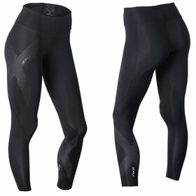 2XU Mid-Rise Compression Tights Long Women Black/Dotted Reflective Logo